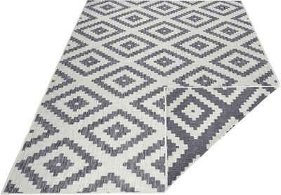 Teppich »Malta«, bougari, rechteckig, Höhe 5 mm, Flachgewebe, In- und Outdoor geeignet, Rauten-Design, Für Terasse und Balkon, Wohnzimmer