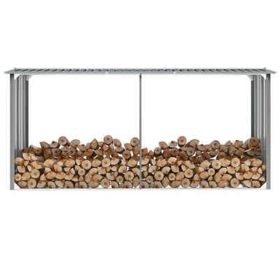 vidaXL Kaminholzregal »vidaXL Brennholzlager aus verzinktem Stahl 330 x 92 x 153 cm Grau«