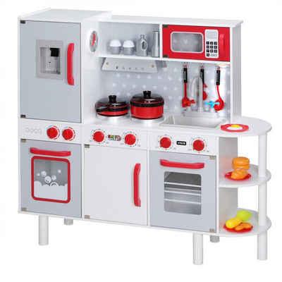 Spielwerk Spielküche, Küche wächst mit, LED Licht, 38 tlg Zubehör, Uhr, Mirkowelle, Soundeffekt, öffenbare Türen