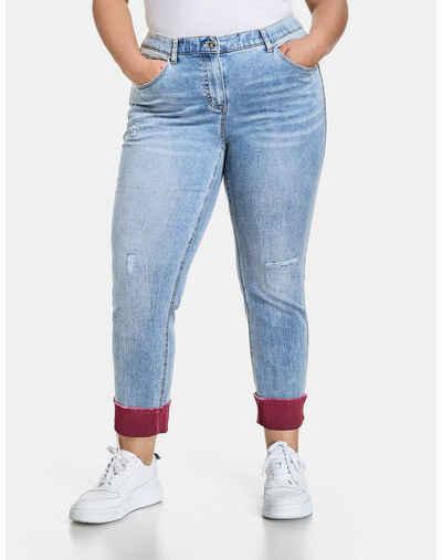 Samoon Stretch-Jeans »Betty Jeans mit Turn-up Saum« (1-tlg) Schmale Hose