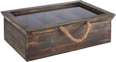 APS Teebox, Holz, (1-tlg), aus Echtholz, für bis zu 30 Teebeutel, Vintage-Look