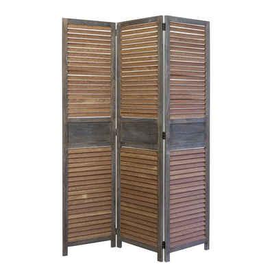 Homestyle4u Paravent, 3-teiliger Raumtrenner Braun, 120x170 cm