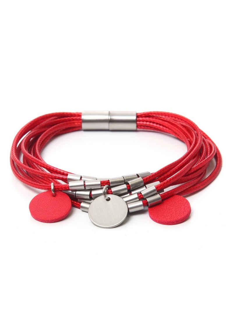 J.Jayz Armband »rot, rund, bicolor, mehrreihig«