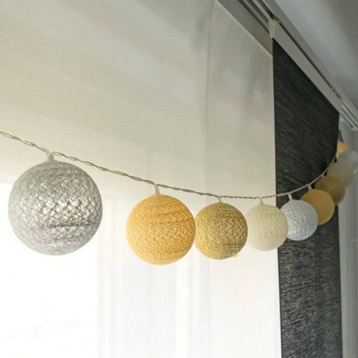 K&L Wall Art LED-Lichterkette »Cotton Ball Kinderzimmer Lichterkette 20 LED Deko Kugeln aus Baumwolle«, 20-flammig, Gelb Gold Silber Farbton