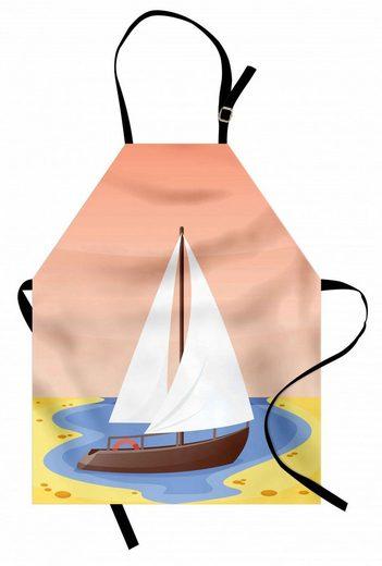 Abakuhaus Kochschürze »Höhenverstellbar Klare Farben ohne verblassen«, Marine Pastellsegelboot in einer Bucht