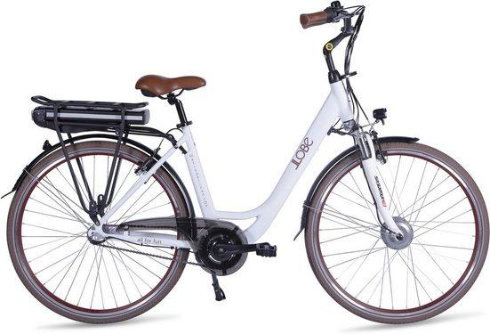 LLobe E-Bike »Metropolitan JOY modernwhite 10 Ah«, 3 Gang, Nabenschaltung, Frontmotor 250 W, (mit Akku-Ladegerät)