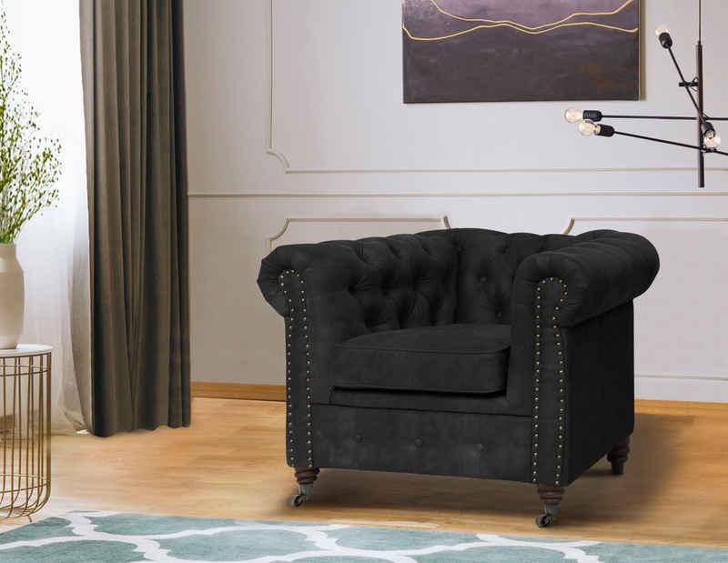 Home affaire Chesterfield-Sessel »Aarburg«, aufwändige Knopfheftung und Ziernägel im Chesterfield-Design