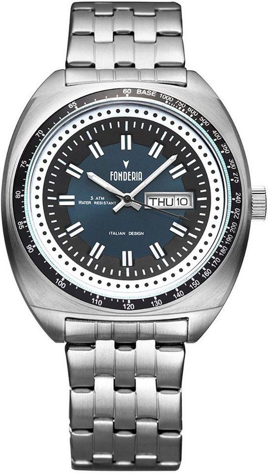 fonderia -  Quarzuhr »UAP7A004UB2  Herren Uhr P-7A004UB2«, (Analoguhr), Herren Armbanduhr oval, silber, schwarz, blau