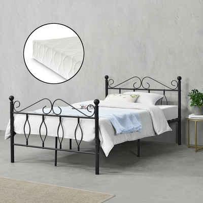en.casa Metallbett, »Apolda« Gästebett Jugendbett mit Lattenrost und Kaltschaummatratze schwarz in verschiedenen Größen