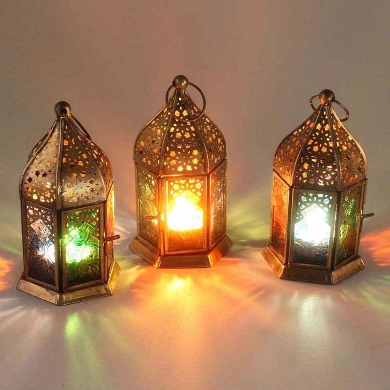 Casa Moro Windlicht »Orientalische Windlichter Nael Multi 3 Set aus Metall & mit bunten Reliefgläsern Höhe 16 cm, Marokkanische Glaslaternen im Antik-Messing-Look für drinnen & draußen, WDL1030« (3er-Set), Handmade