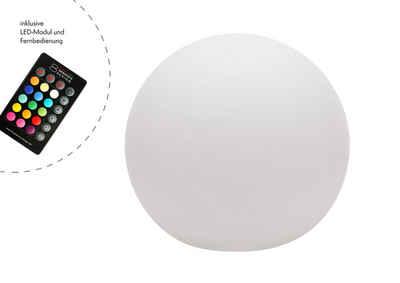 8 seasons design Gartenleuchte »Shining Globe«, 30 cm weiß für In- und Outdoor, RGB-LED mit Farbwechsel, Leuchtkugel, Kugellampe, Kugelleuchte, beleuchtete Kugel, inklusive Leuchtmittel, Gartenleuchte