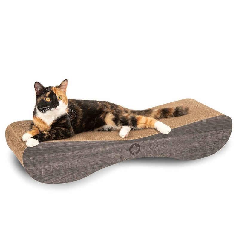 Canadian Cat Company Kratzpappe »Satellite 2.0 - dunkelgrau«, (Qualitäts-Kratzbrett, XL Kratzmöbel mit Katzenminze), ergonomische Form