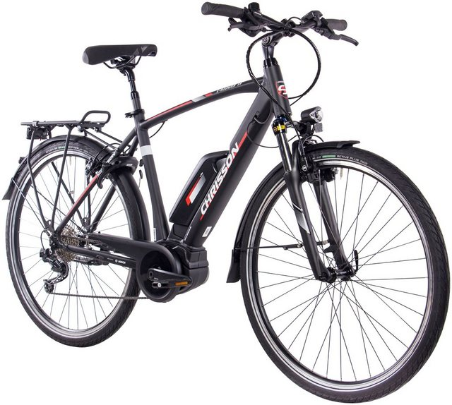 CHRISSON E-Bike Trekking Herren »E-Rounder Gent«, 9 Gang, Shimano DEORE Kettenschaltung, Rahmenakku, 250 W*