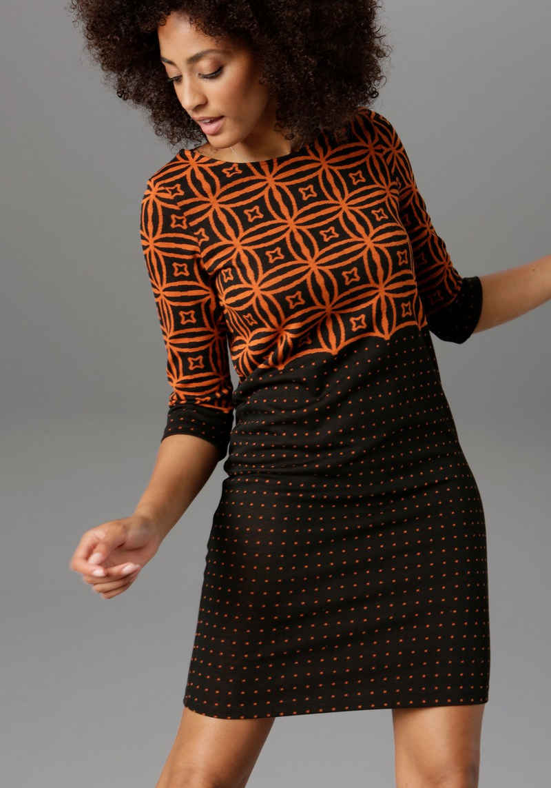 Aniston SELECTED Jerseykleid im modernen Muster- und Punkte-Design