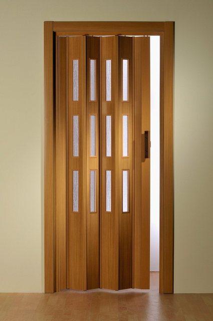 Kunststoff-Falttür, nach Maß, mit Fenster Molato Cristal, in buchefarben