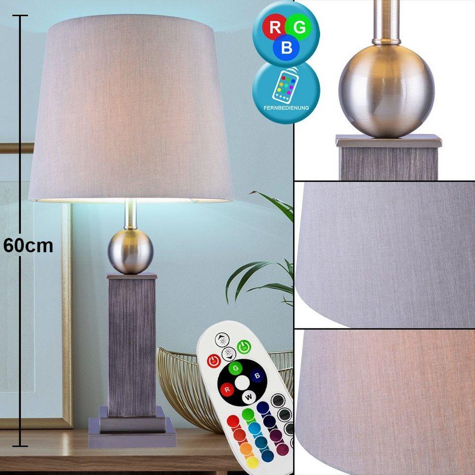 etc shop Tischleuchte, Tisch Lampe Holz Wohn Ess Zimmer Textil Leuchte  Fernbedienung im Set inkl. RGB LED Leuchtmittel online kaufen   OTTO