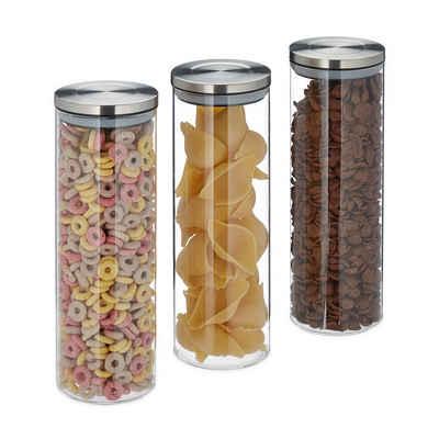 relaxdays Vorratsglas »Vorratsglas 3er Set 1,8 Liter«, Glas