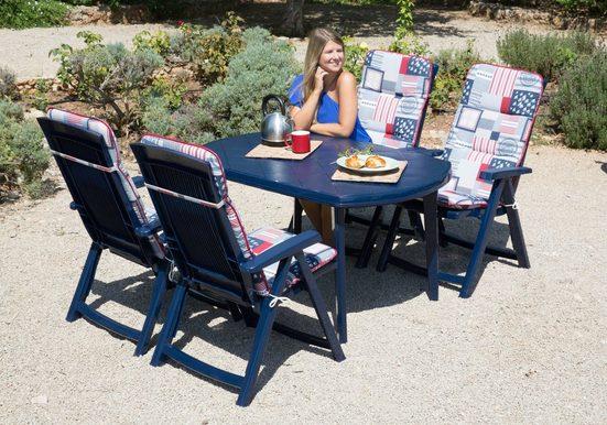 Best 9-tlg. Gartenmöbelset »Elise«, 4 Klappsessel, Tisch 137x90 cm, Kunststoff, blau