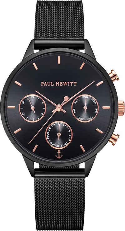 PAUL HEWITT Multifunktionsuhr »Everpulse Black Sunray Roségold Black Mesh, PH002811«