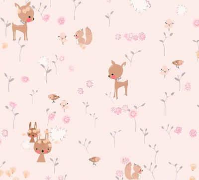 living walls Papiertapete »Boys & Girls«, Kinderzimmertapete mit niedlichen Tieren, umweltfreundlich