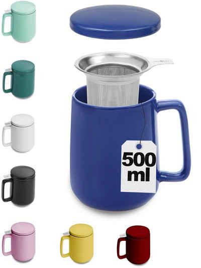 Cosumy Teeglas »Teetasse mit Sieb und Deckel Blau 500ml«, Keramik, Hält Lange warm - 500ml XXL Groß - Spülmaschinenfest