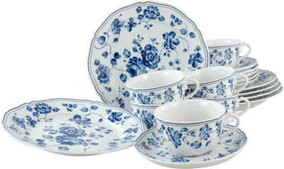 CreaTable Kaffeeservice »ROYAL BLUE FLOWER« (18-tlg), Porzellan, blaue Rosenmotive in oppulenter Anlage