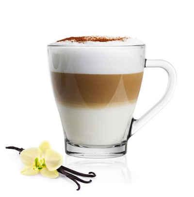Sendez Gläser-Set »6 Cappuccino Kaffeegläser Teegläser 250 ml Henkel und 6 Edelstahl-Löffel GRATIS«, Glas