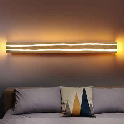 ZMH LED Wandleuchte »Wandlampe innen Holz 18W Nachtlampe Warmweiß für Wohnzimmer Schlafzimmer Flur Treppe Innenbeleuchtung«