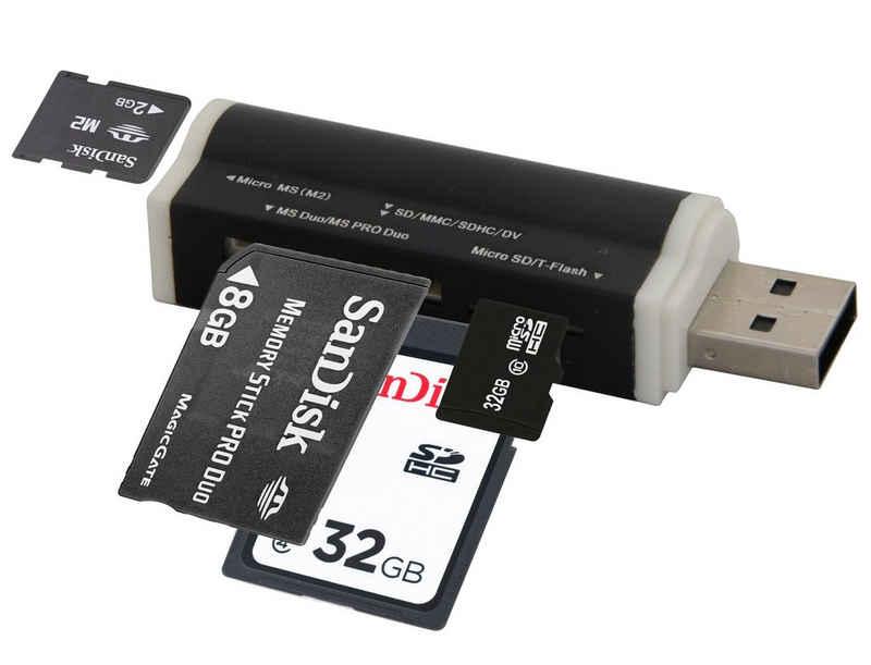 cofi1453 Speicherkartenleser »USB Kartenleser Cardreader für SD/Micro SD/M2/M2PRODUO USB Kartenlesergerät Multi Adapter Schwarz«