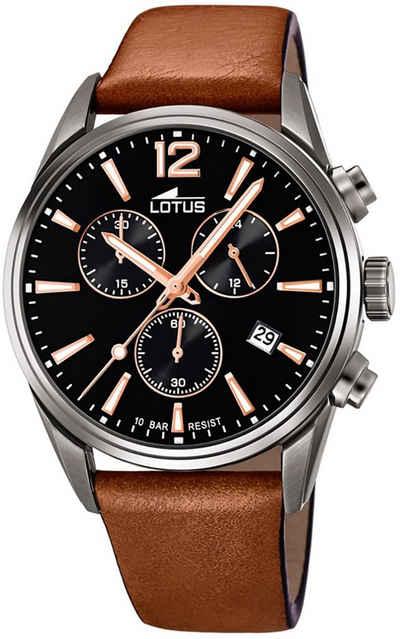 Lotus Multifunktionsuhr »UL18683/2 LOTUS Herren Uhr Sport 18683/2 Leder«, (Analoguhr), Herren Armbanduhr rund, groß (ca. 42mm), Lederarmband braun