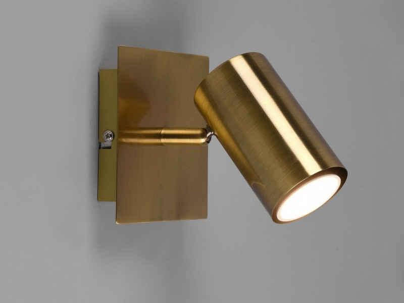 meineWunschleuchte LED Wandstrahler, innen, Wand-Lampe Altmessing, einflammig, Lichtspots schwenkbar, Flurbeleuchtung