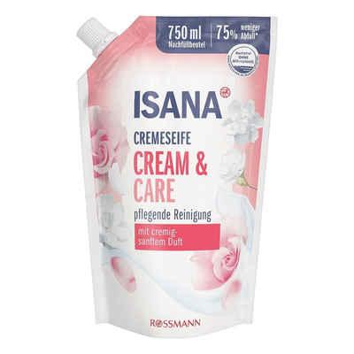 ISANA Flüssigseife »Cream & Care«, Nachfüllbeutel, mit Softpflege-Komplex und Pflegelipid