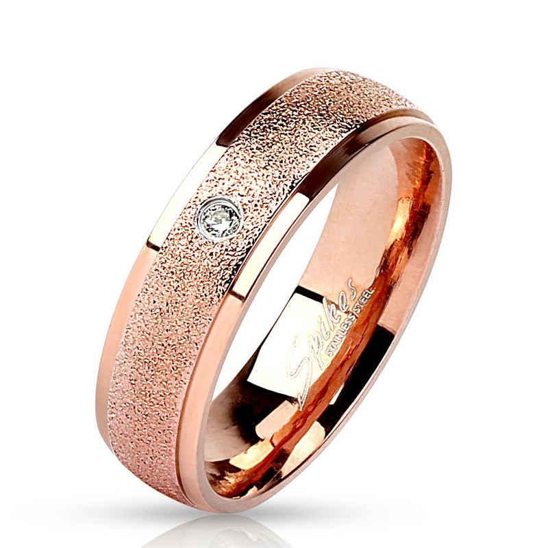 BUNGSA Fingerring »Ring sandoptik Rosegold aus Edelstahl Unisex« (inkl. Schmuckbeutel aus Organza), Damen Herren Verlobung Ehering Valentinstag