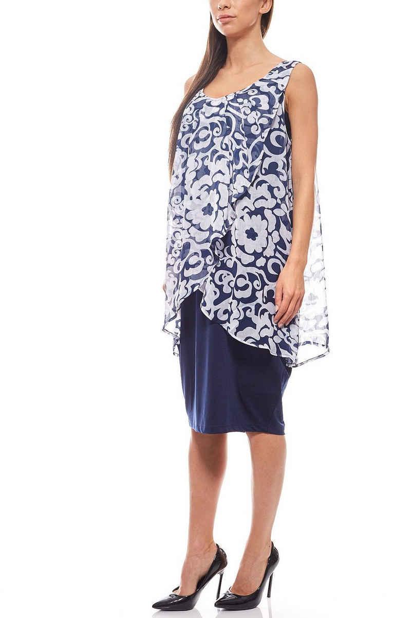 Zhenzi Jerseykleid »ZHENZI Jerseykleid Knielang Layer-Look Sommerkleid Blumenkleid Blau«