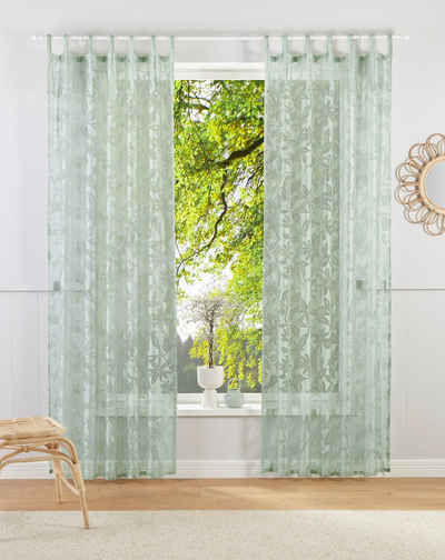 Gardine »Glen«, Guido Maria Kretschmer Home&Living, Bindebänder (1 Stück), halbtransparent, gewebt, Ausbrenner
