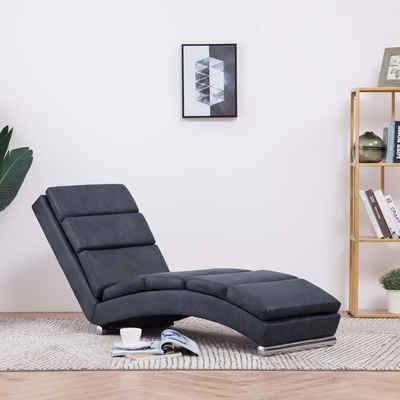 vidaXL Chaiselongue »vidaXL Chaiselongue Wildleder-Optik Relaxliege Relaxsessel Lounge Braun/Grau«