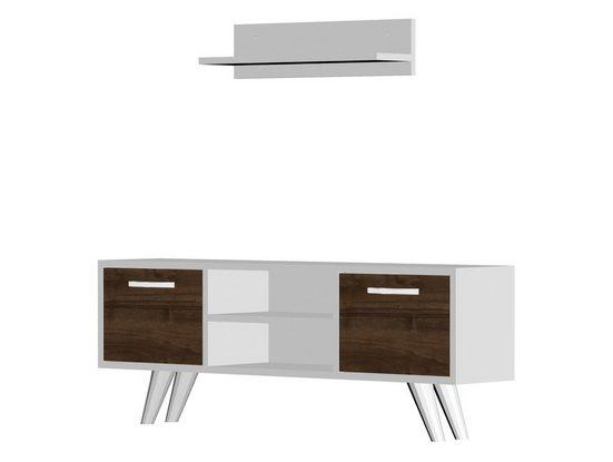 moebel17 TV-Regal »Wohnwand Likya Weiß Walnuss«, Platzsparend mit 4 Ablageflächen