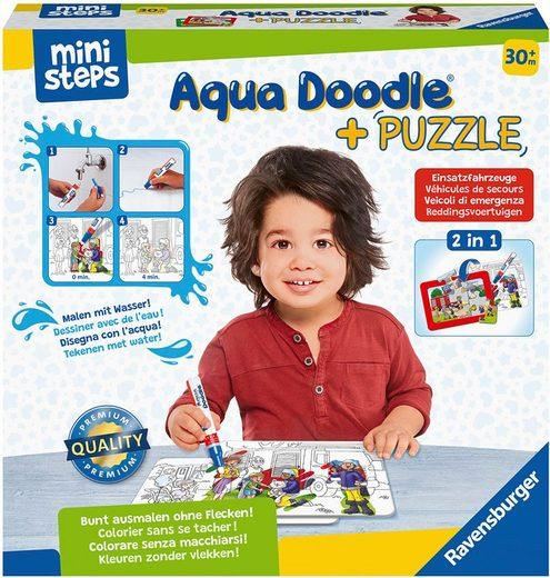 Ravensburger Kreativset »ministeps® Aqua Doodle® Puzzle: Einsatzfahrzeuge«, Made in Europe; FSC® - schützt Wald - weltweit