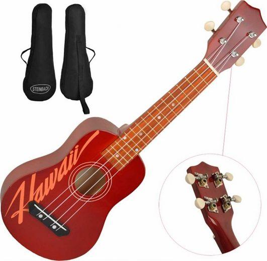 Steinbach Ukulele »Steinbach Sopranukulele rot Hawaii Design Gitarrenmechanik inkl. Gigbag«