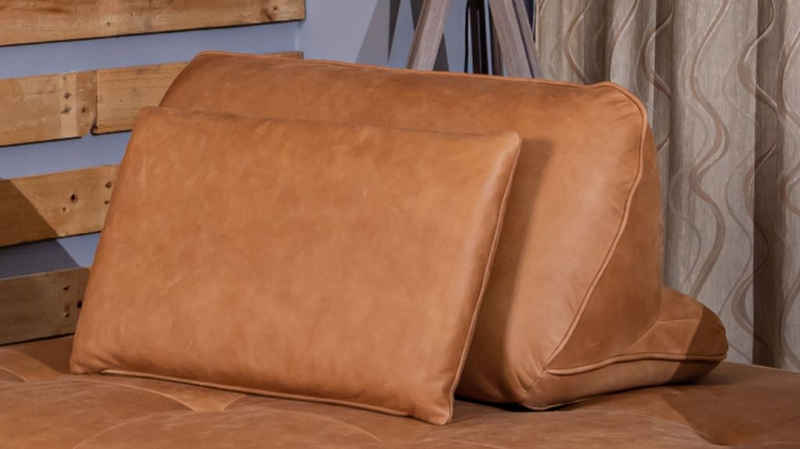 KAWOLA Dekokissen »WIOLO«, Rückenkissen Leder verschiedene Farben