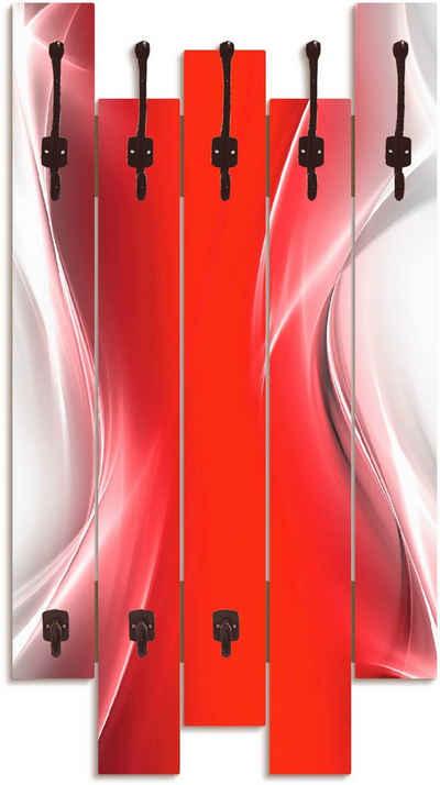 Artland Garderobenpaneel »Kreatives Element Rot für Ihr Art-Design«, platzsparende Wandgarderobe aus Holz mit 8 Haken, geeignet für kleinen, schmalen Flur, Flurgarderobe