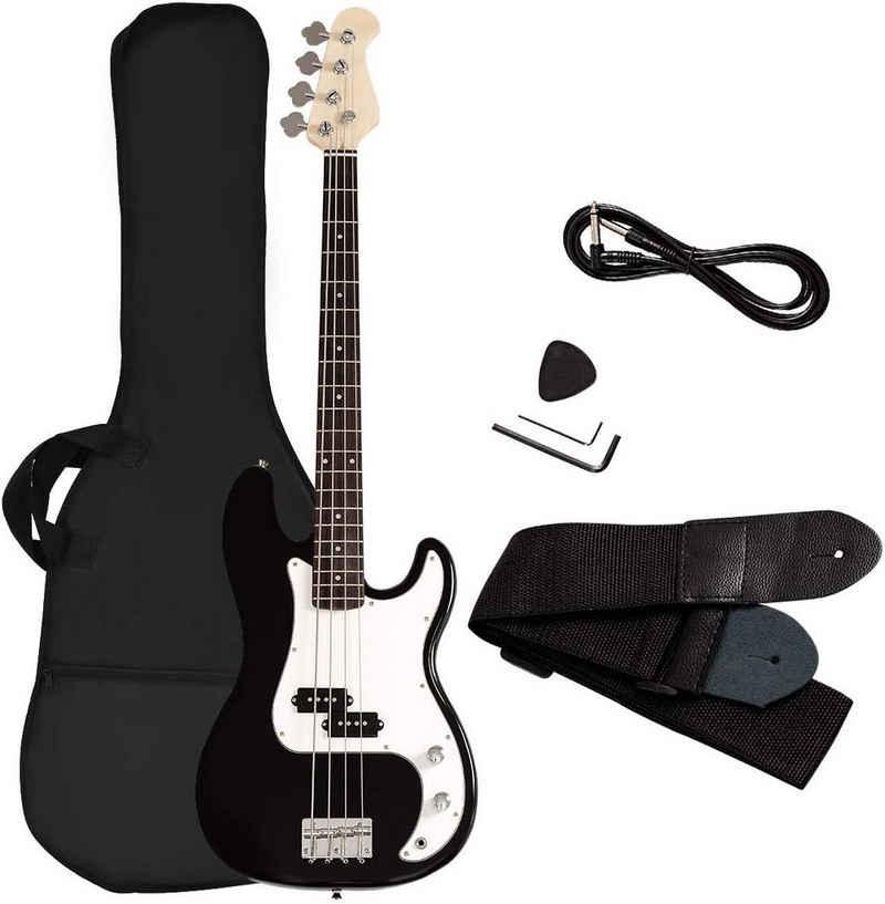 COSTWAY E-Bass »Elektrogitarre«, mit 4 Saiten, mit Gitarrentasche, Gurt, Plektrum, Verstärkerkabel, 2 Tonabnehmer und Klangregler