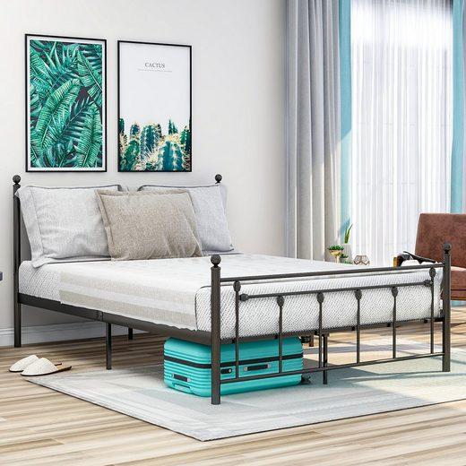 Masbekte Metallbett, Doppelbett, Jugendbett, Hochwertiger Metallbettrahmen mit Kopf- und Fußteil (140*200cm)