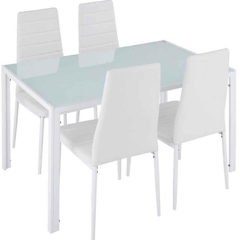 tectake Sitzgruppe »Essgruppe Berlin 4+1«, (5-tlg., Set aus Stühlen und Esstisch)