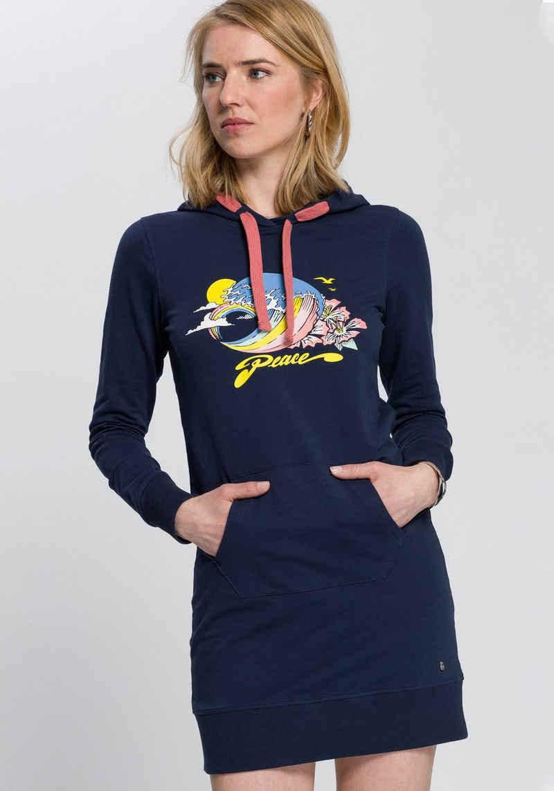 AJC Sweatkleid mit extra breiten Kordeln und collem Placement-Print
