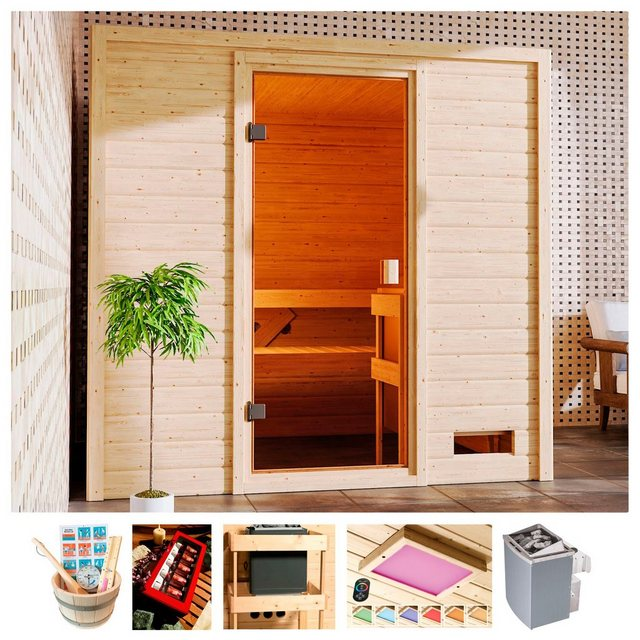 Saunen und Zubehör - KARIBU Sauna »Ricky«, 195x169x187 cm, 9 kW Ofen mit int. Steuerung  - Onlineshop OTTO