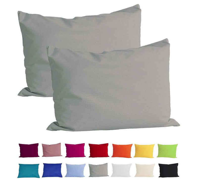 Kissenbezug »Basic 2er Set«, beties (2 Stück), Kissenhülle ca. 40x60 cm 100% Baumwolle in vielen fröhlichen Uni-Farben (grau)