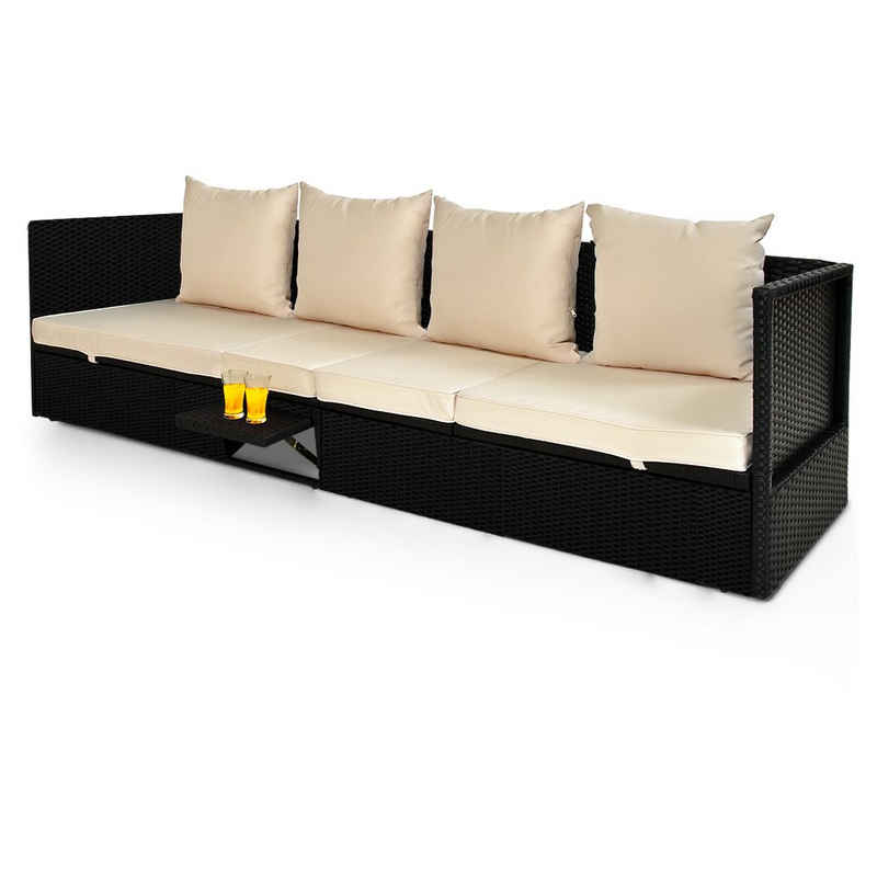 Casaria Gartenliege Polyrattan Gartenmöbel Lounge 200x60 cm mit Auflage Verstellbare Lehne Klapptisch Outdoor Sonnenliege Wetterfest