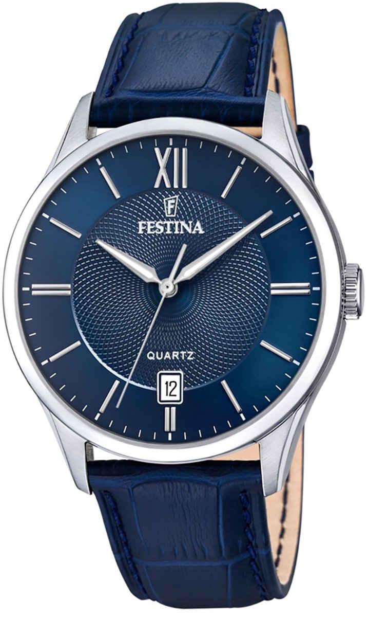 Festina Chronograph »UF20426/2 Festina Herren Uhr F20426/2 Leder«, (Analoguhr), Herren Armbanduhr rund, Lederarmband dunkelblau