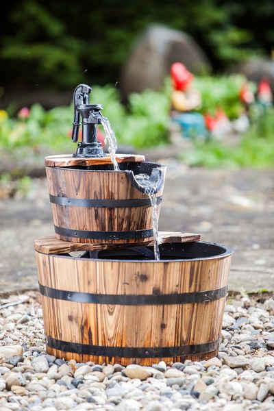Heissner Gartenbrunnen »Wooden Barrel«, 45 cm Breite, (Set)